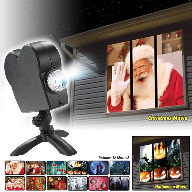 Window Display Christmas Projector Lamp 12 Movies Projector Light Laser LED Projection Light Landscape Xmas Halloween Decoration