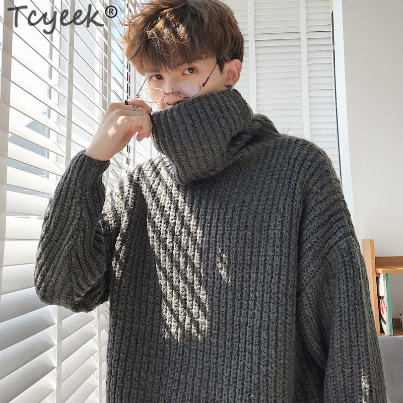 2019 Winter Hombre Warm Turtleneck Sweater Men Fashion Knitted Mens Sweaters Casual Slim Pullover Male Double Collar Tops 665LC
