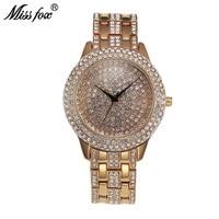 Miss Fox Full Diamond Luxury Watch Women Rhinestone Waterproof Horloges Vrouwen Gold Gift For Girls Sobretudo Relogio Feminino