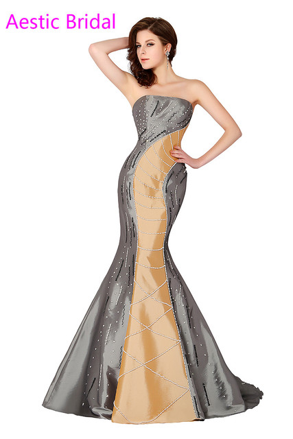 Unique Silver Strapless Mermaid Prom Dress With Fully Beaded ...