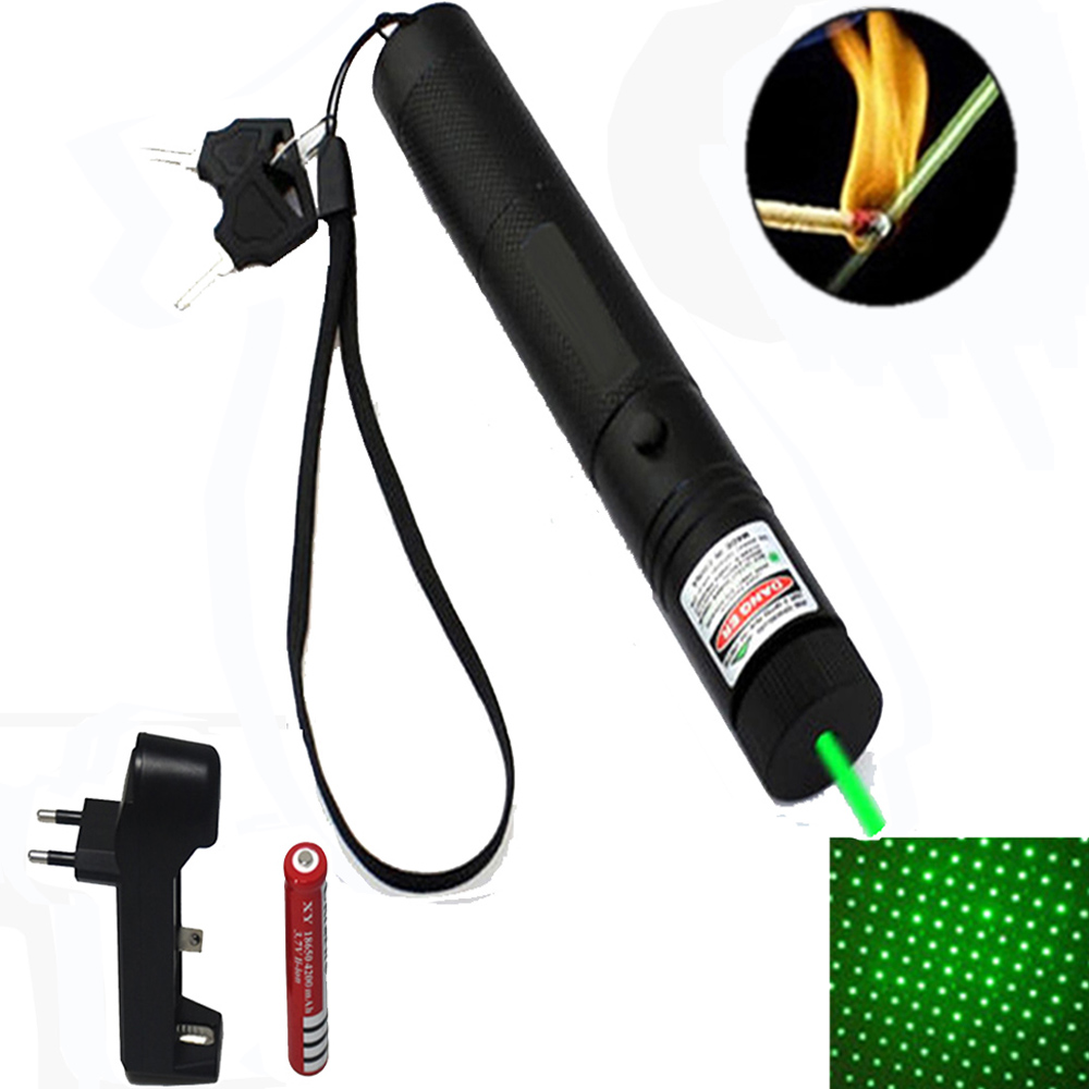10000 m 532 nm láser verde vista Láseres puntero potente dispositivo ajustable foco Lazer con láser 303 + cargador + 18650 batería