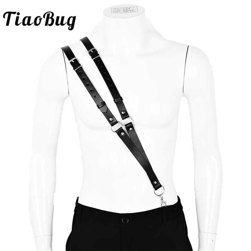 TiaoBug Black Imitation Leather Double Straps Single Shoulder Braces Novelty Men Adjustable Suspenders Sexy Male Harness Belt