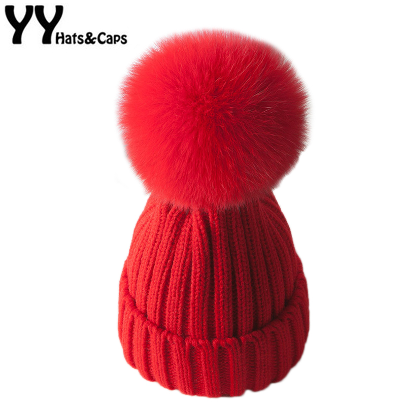 Real Natural Fox Fur Pompoms Ball   Skullies     Beanies   Winter Hats For Women Knitting Cap Warm   Beanie   Casual Gorros Knitted YY17223