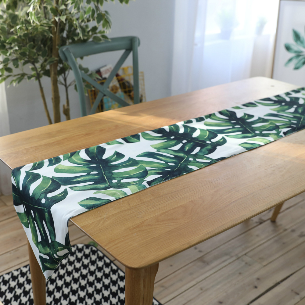 ESSIE HOME Digital Print Cotton linen Palm Leaf Monstera Leaf Green Leaf Table Cloth Table Runner Placenmat