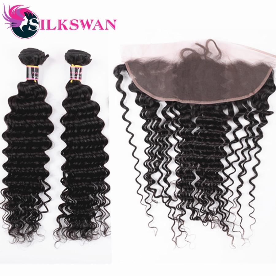 Slikswan Hair Brazilian Deep Wave Human Hair 3 Bundles With Lace Frontal Swiss Lace Frontal Remy