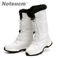 Femme female snowshoes winter warm white black lady platform flat Mid Calf snow boot with Fake fur waterproof quilted shoe women
