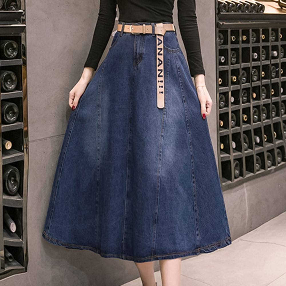 5a27fcaf3a7 Detail Feedback Questions about Spring summer high waist a line midi flare blue  vintage denim skirt for women womens umbrella skirts office work wear saia  ...