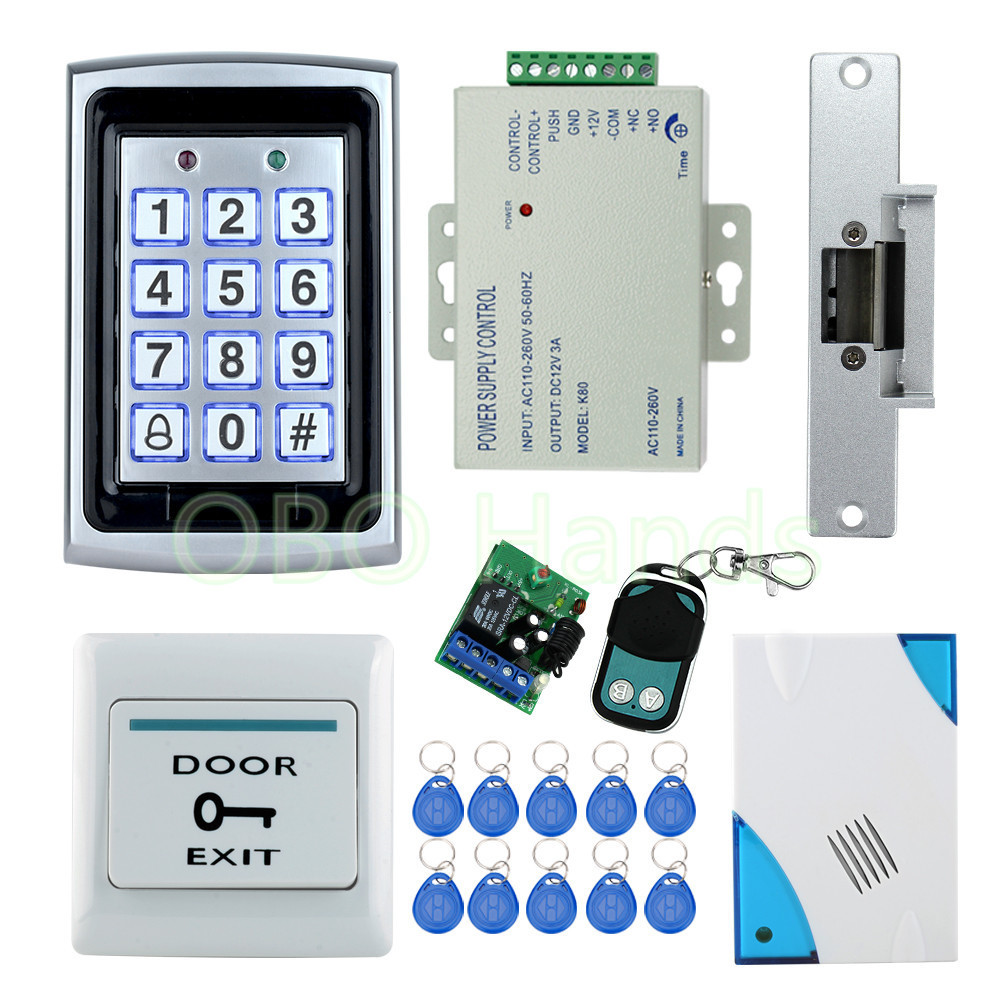 Free shipping Full waterproof access control system kit set with Electric Strike Lock+Remote control+Door bell+power+exit+10keys full kit access control biometric fingerprint x6 electric strik lock power supply exit button door bell remote control key cards