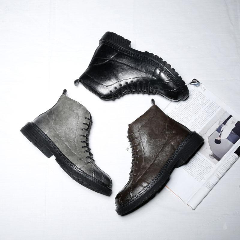 Borracha Homens gray Outono Couro Botas Masculino De Mxz811822 brown Da Confortável Dos Marca Black qYwUH5AUx