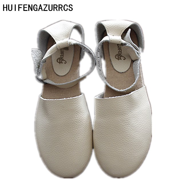 HUIFENGAZURRCS 2019 New Pure Handmade Genuine leather shoes Sen female casual shoes shallow mouth lacing retro