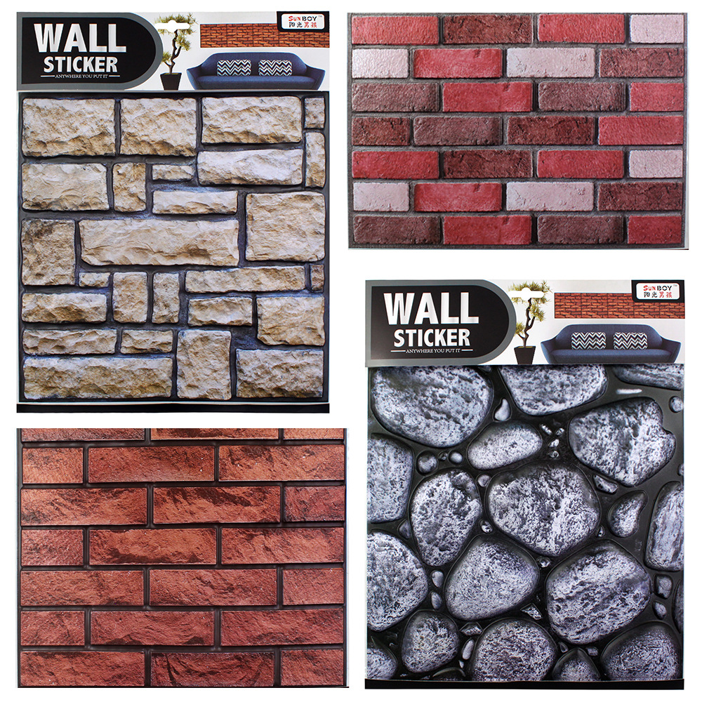 PVC self adhesive 3d wallpaper creative living room TV wall decoration Bathroom kitchen waterproof retro brick wall stickers