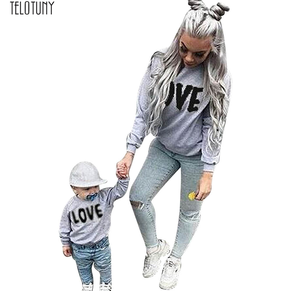 TELOTUNY Family Matching Outfits Spring and Autumn Children's Long Sleeve Cap with Black Sweatshirt JXM Z0829