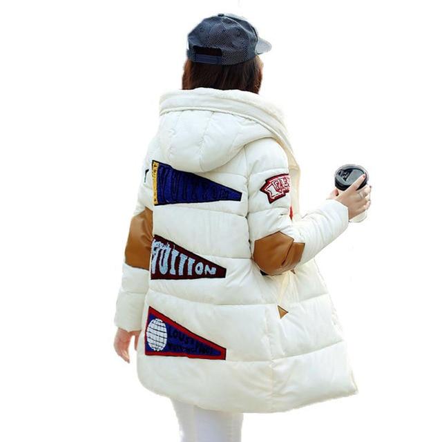 Новый 2016 зимняя куртка женщины военной печати парки duck down loose fit пальто средней длины pathchwork плюс размер пальто snowear