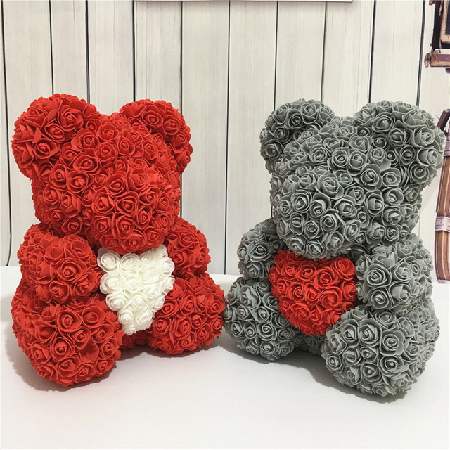 2019 Valentine Day Gift Bear Shape Artificial Flowers For Wedding