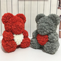 2019 Valentine Day Gift Bear Shape Artificial Flowers For Wedding Party Lovers Gift Rose Bear PE Flower For Home Decoration