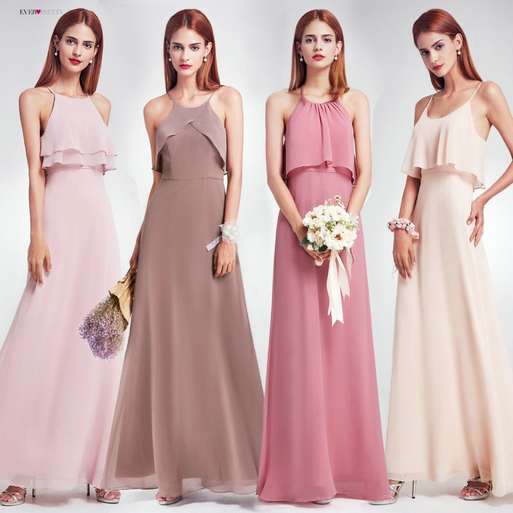 все цены на Elegant Bridesmaid Dresses Ever Pretty EP07130 Long Chiffon Dress A-line Ruffle 2018 Bridesmaid For Wedding Party Guest Dress