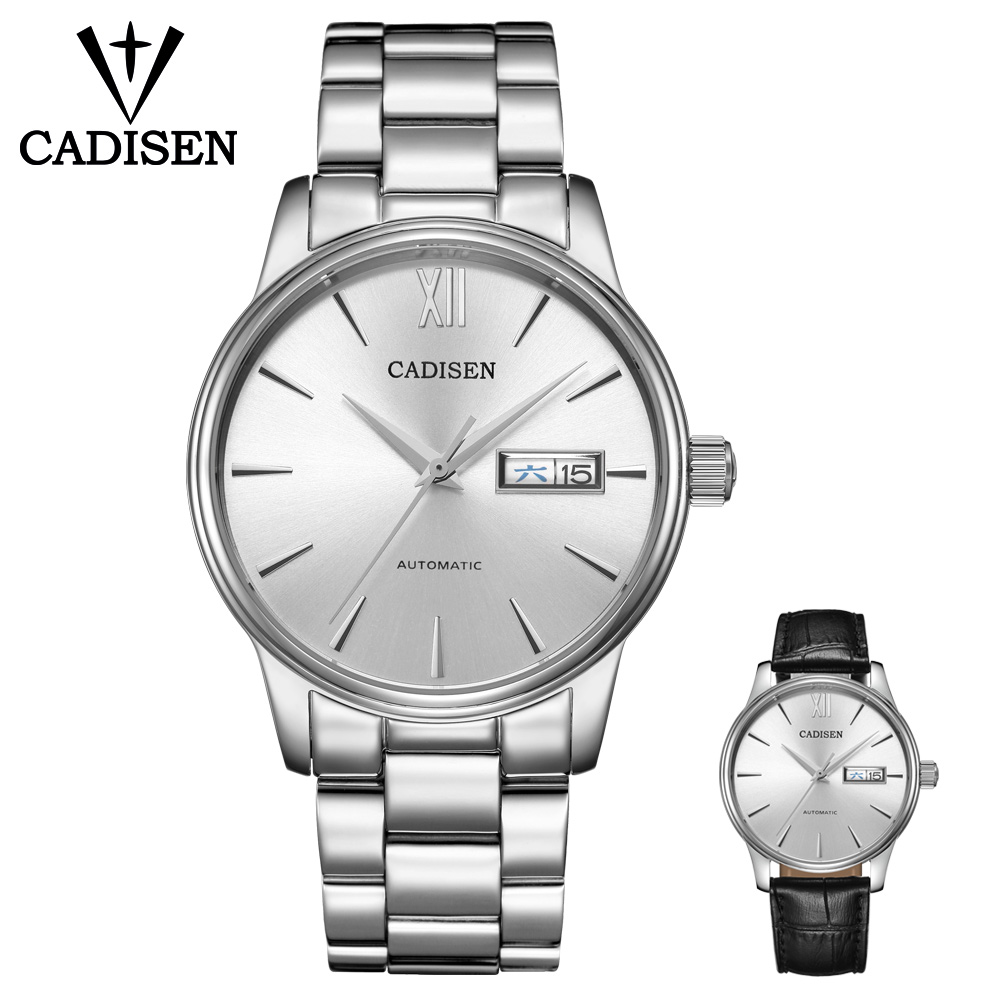 CADISEN Watch Men NH36A Mechanical Movement Set Automatic Self-wind Stainless Steel Sapphire 5ATM Waterproof Business Men Wrist