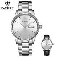 CADISEN Watch Men NH36A Mechanical movement Set Automatic Self wind Stainless Steel Sapphire 5ATM Waterproof Business Men Wrist Watch