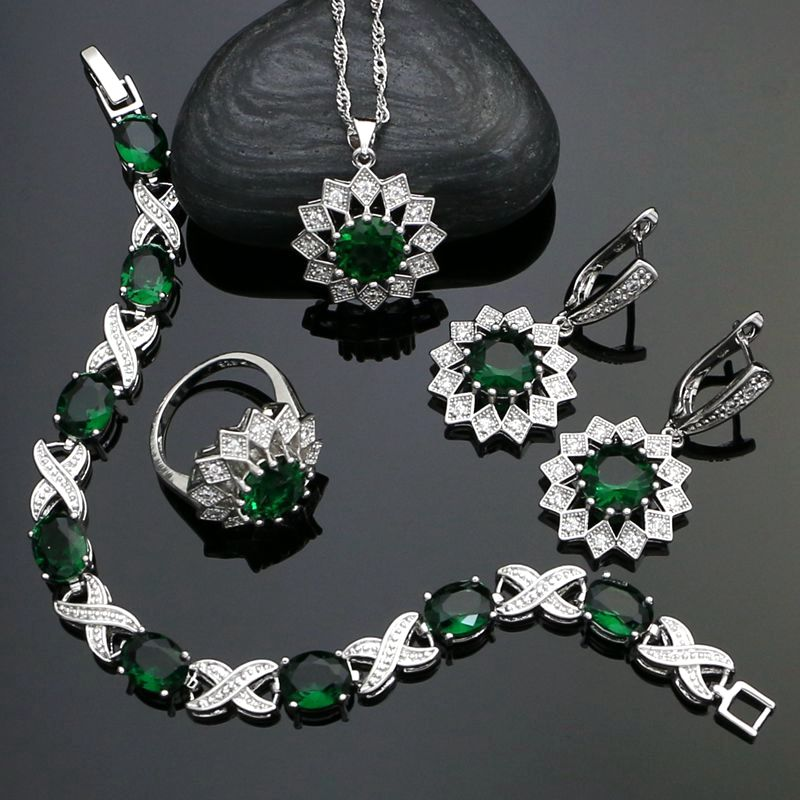 925 Sterling Silver Jewelry Sets For Women Green Stone White Cubic Zirconia Earrings/Pendant/Necklace/Ring/Bracelet viennois new blue crystal fashion rhinestone pendant earrings ring bracelet and long necklace sets for women jewelry sets