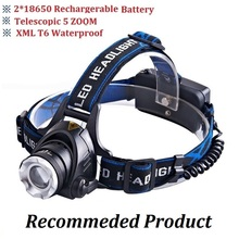 5000LM Cree XM-L T6 Led Headlamp Zoomable Headlight Waterproof Head Torch flashlight Head lamp Fishing Hunting Light