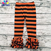 Wholesale Halloween Baby Orange And Black Leggings Children Bella Ruffle Trousers Long Pants
