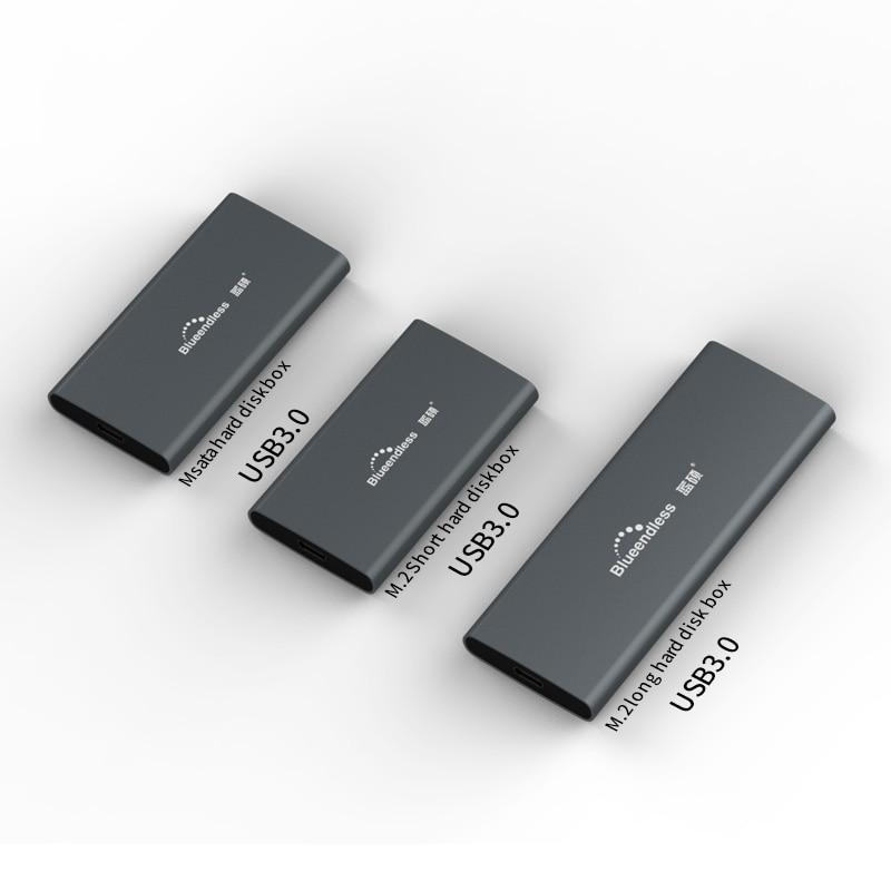 M.2 portátil ssd Disco Duro casos tipo c usb 3,0 msata 2242/2260/2280 Disco Duro plata hdd caddy aluminio blueendless
