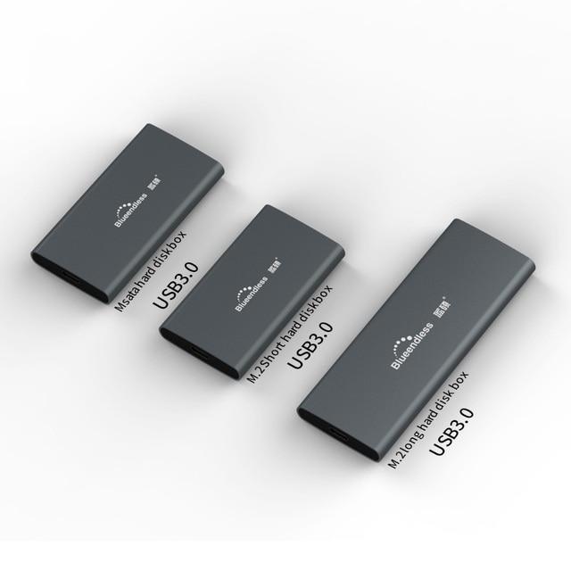 M.2 portátil Disco Duro ssd casos tipo c usb 3,0 msata 2242/2260/2280 de disco duro carcasa de plata de aluminio hdd caddy bluedendless