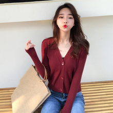 Cropped  Sweaters Female With Button  Short Sweater Mujer V Neck Long Sleeve Sweater Women Knitted Cardigans G94 g94 700 a1 g94 701 a1 g94 706 b1