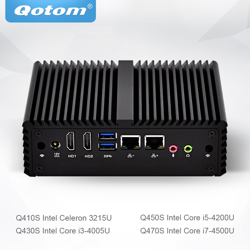 Qotom Mini PC Celeron Core I3 I5 I7 Support Linux Ubuntu Win Fanless Micro Computer 2 Gigabit NIC Little Box PC Q400S-S08
