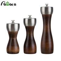 مطحنة ملح وفلفل خشبية مع مطحنة قوية قابلة للضبط من الفولاذ المقاوم للصدأ مطحنة بهارات يدوية خلاط فلفل للمطبخ|مطاحن|   -