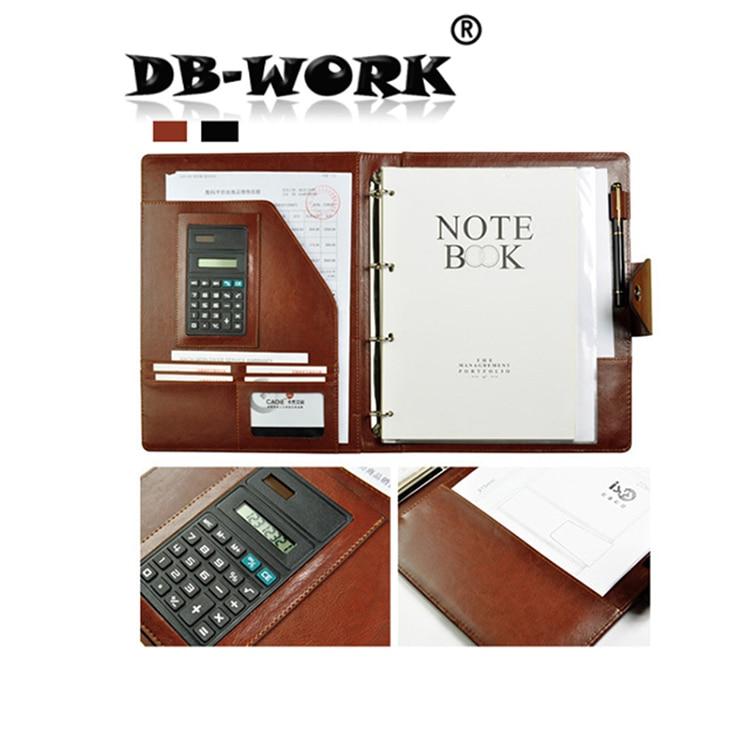 2019 A4 Läder Business Manager mapp Beige inre kärna med penna väska kan anpassas med datalagring av miniräknare