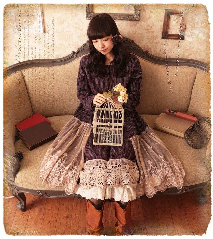 Японский Кружево рюшами печати крючком хлопок белье лоскутное Винтаж Хиппи Boho Лолита Слои рокабилли осень-зима Макси платье