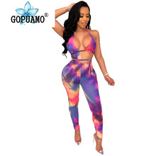 Rainbow Tie Dyeing Sexy Bandage Jumpsuit Women Waist Band Cut Out Backless Skinny Bodysuit Summer Halter Sleeveless Party Romper