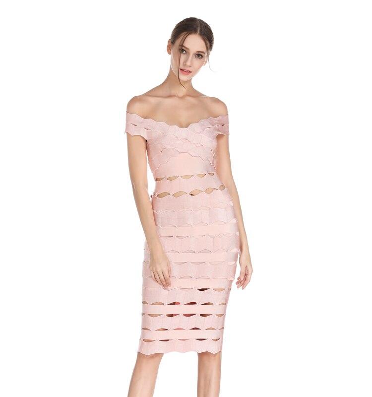 Top Sexy De Slash Qualité Celebrity Moulante Vin Robe Party Noir Célébrité Rose Femmes Rouge Cou 2017 Robes Bandage RxrZR0