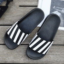 Fashion Men Slippers Summer Striped PVC Home Slippers Men Outdoor Soft Bottom Couple Shoes Sandals Unisexual Anti-slip Slippers