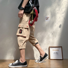 Mens Casual Shorts Summer Multi-pocket Harem Loose Hip Hop Cropped Trousers  Compression Plus Size