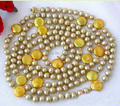 Wholesale Pearl Jewelry 60 Inches 4-14mm Gold Round Coin Freshwater Pearl Necklace - Handmade Jewelry - XNZ31
