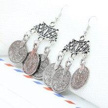2016 New Fashion Ethnic Bohemian Gypsy Drop Earrings Sector Design Boho Indian Jewelry Long Big Pendant Ancient Coins Earrings