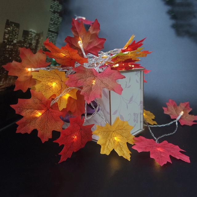 Autumn maple leaf garland with LED light,AA battery holiday party light string,Mutiple color maple leaf vase flower arrangement
