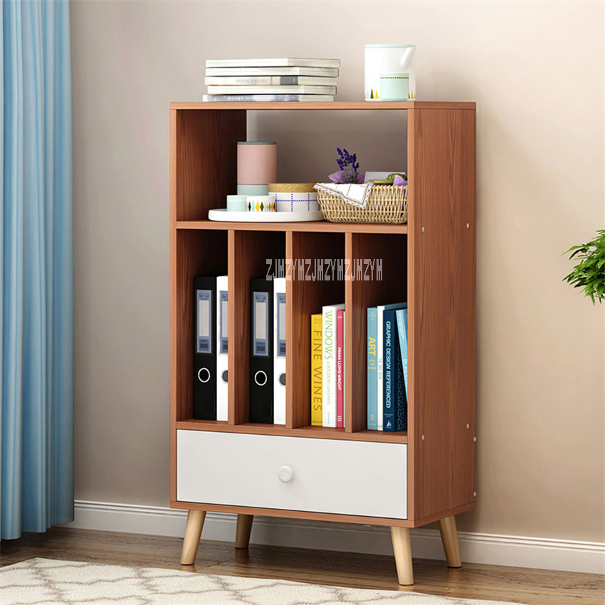 L87 Modern Simple Bookshelf Multifunctional Bedroom Wooden Bookcase Creative Density Plate Multi-Layer Book Cabinet With DrawerL87 Modern Simple Bookshelf Multifunctional Bedroom Wooden Bookcase Creative Density Plate Multi-Layer Book Cabinet With Drawer