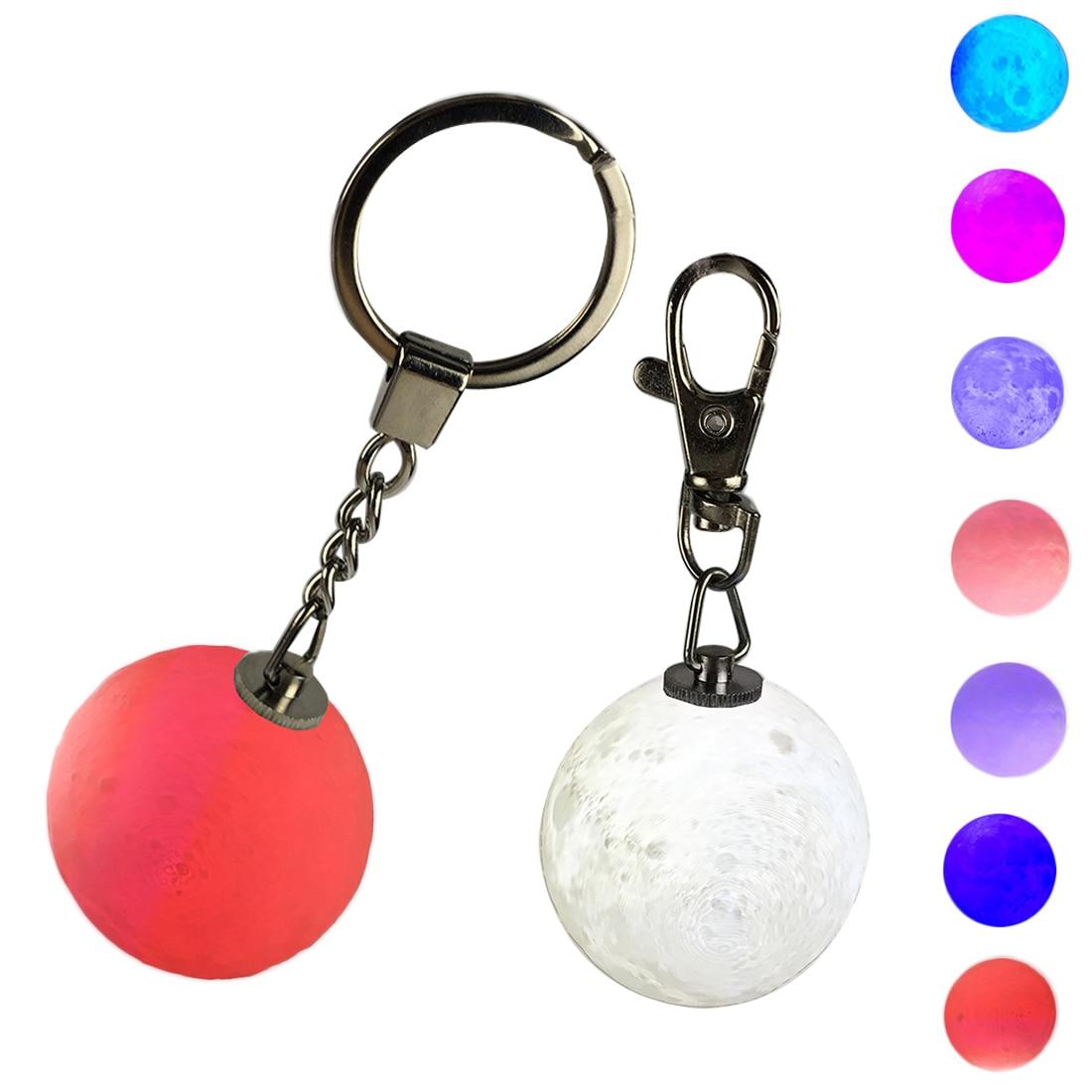 1 Stücke 3d Print Mond Lampe Keychain Colorfuls Ändern Fußball Led Licht Glow Bewegliche Hängende Nacht Licht Schlafzimmer Decor Einfach Zu Schmieren