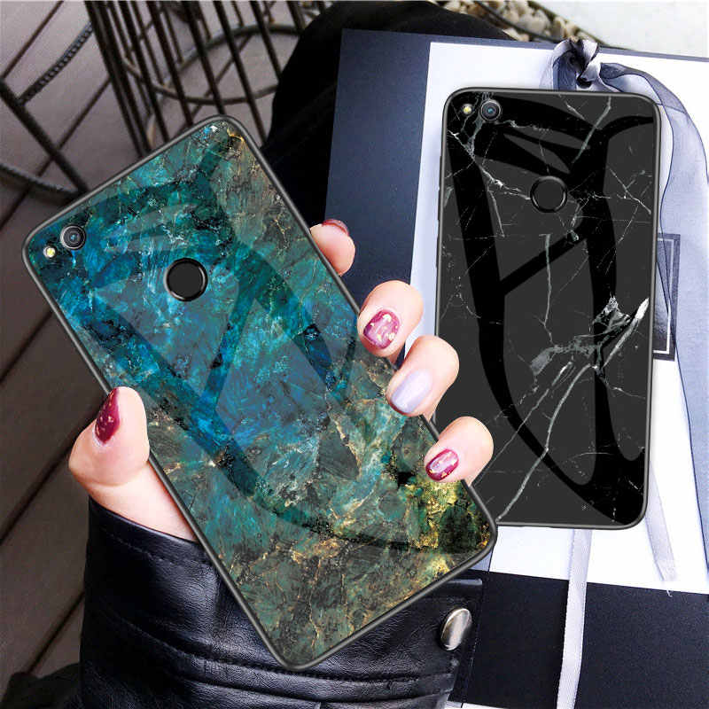 For Huawei P8 Lite 2017 Case Luxury Marble Grain Hard Tempered Glass Protective Back Cover Case for huawei p8lite 2017 shell