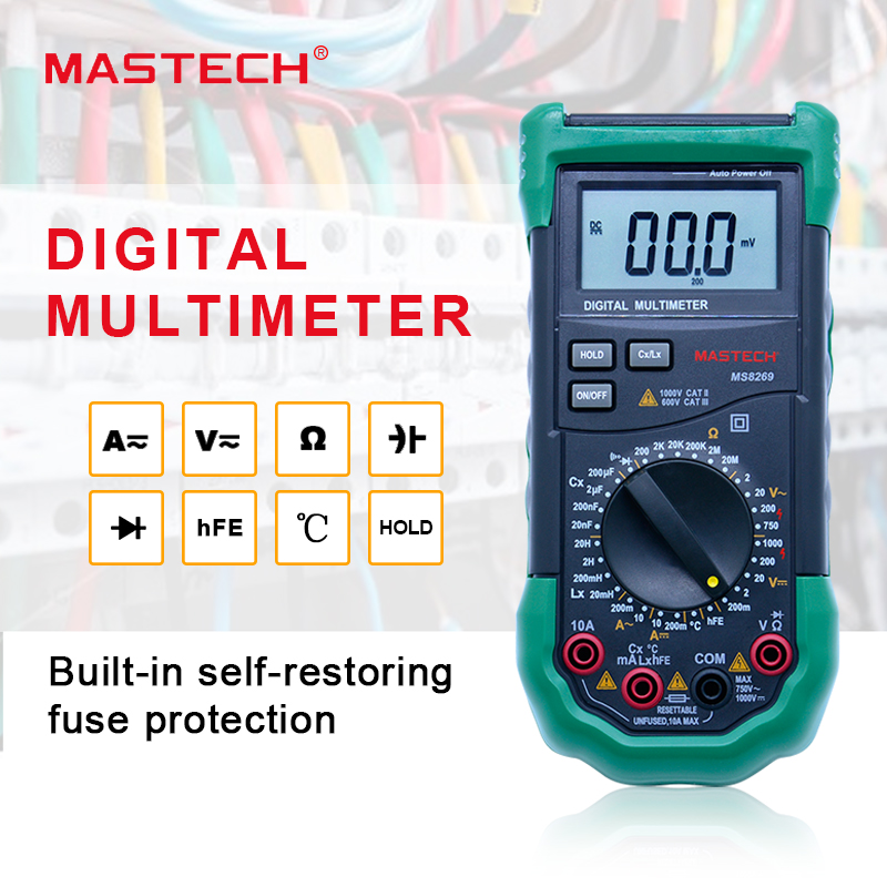 Digital Multimeter 3 1/2 LCR Meter AC/DC Voltage Current Resistance Capacitance Temperature Inductance Tester Mastech MS8269 mastech my6243 portable 3 1 2 1999 count digital lcr meter inductance capacitance tester
