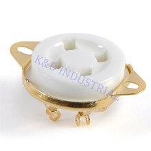 все цены на 10pcs 4pin Gold plated Tube Socke t2A3 300B 5U4G 6B4G U4A Base Ceramic valve Tube Amplifier for Guitar онлайн