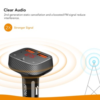 Anker Roav SmartCharge F0 Car Charger with FM Transmitter Bluetooth Receiver Bluetooth 4.2, 2 USB Ports, PowerIQ AUX Output 1