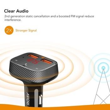 Anker Roav SmartCharge F0 Carregador de carro com transmissor FM Receptor Bluetooth Bluetooth 4.2, 2 portas USB, PowerIQ AUX Output 1