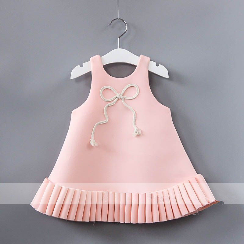 European Kids Costume 2017 New Kids Dresses Bow Sleeveless Belle Dress Fashion High-grade Princess Party Dresses 2-6y