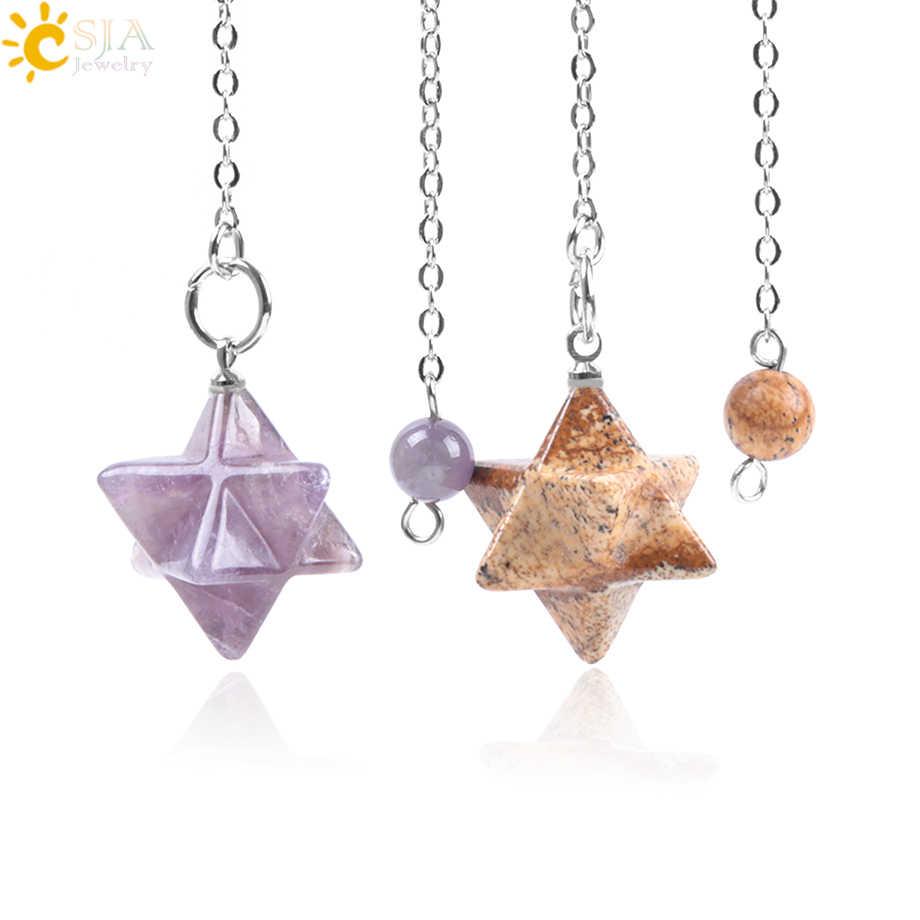 CSJA натуральный драгоценный камень Merkabah маятники для придавая гадания Wicca чакра рейки розовый кристалл лазурит оникс кулон F055