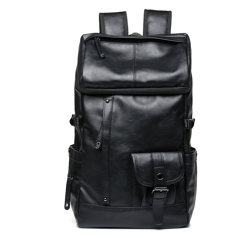 New Waterproof Trend Mens Backpack Business Casual PU Solid Color Backpack Fashion Student Large-capacity Bookbag Computer BagNew Waterproof Trend Mens Backpack Business Casual PU Solid Color Backpack Fashion Student Large-capacity Bookbag Computer Bag