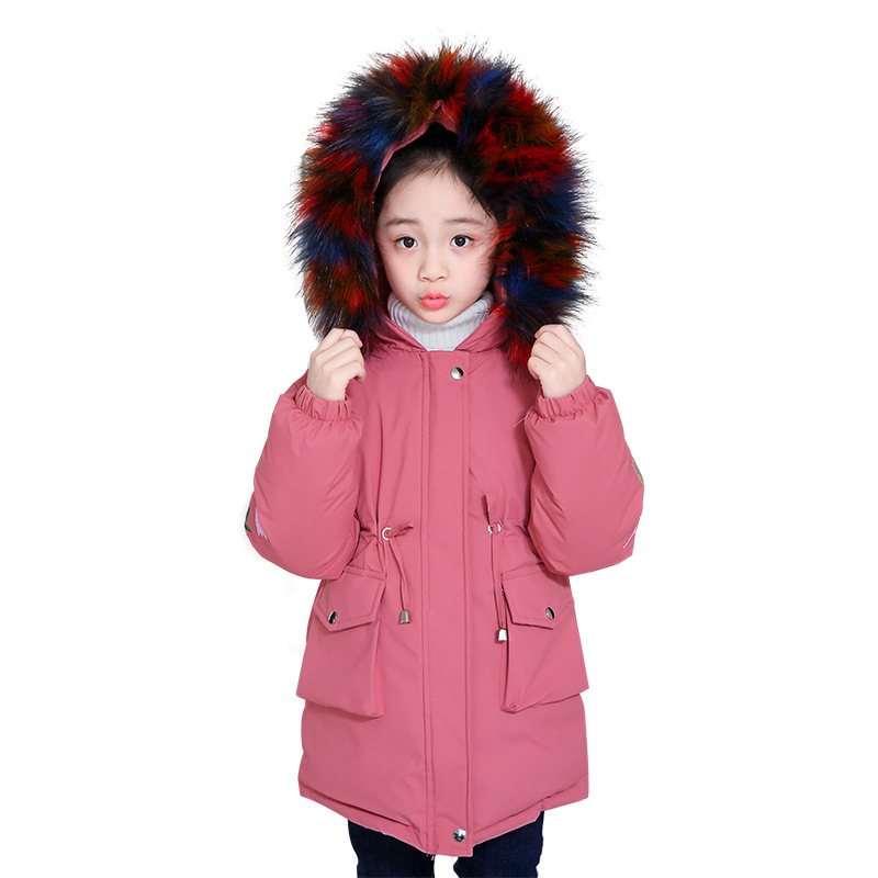 2018 Winter Girl Parkas Warm Hooded Jacket Thickening Embroidered Big Fur Collar Padded Jackets 110-160 High Quality sequin embroidered zip up jacket